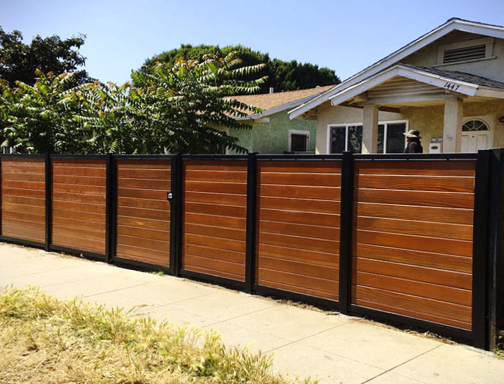 Black:Brown Wood Privacy Fence Newport Beach CA
